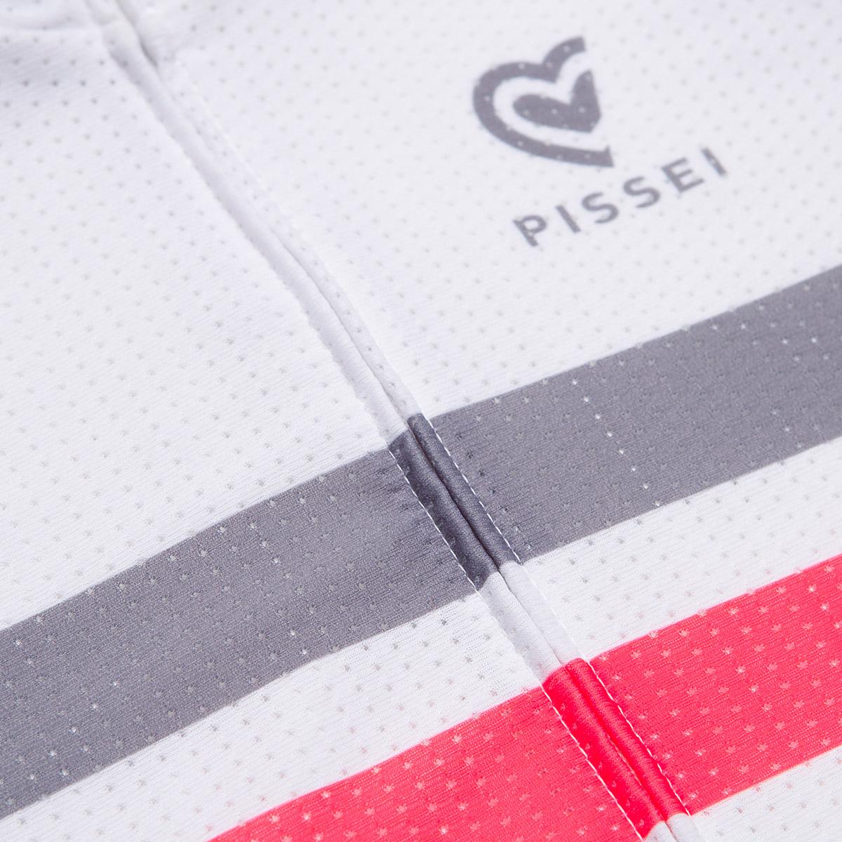 Maglia manica corta Pissei Sanremo Striped bianco rosso - dettaglio
