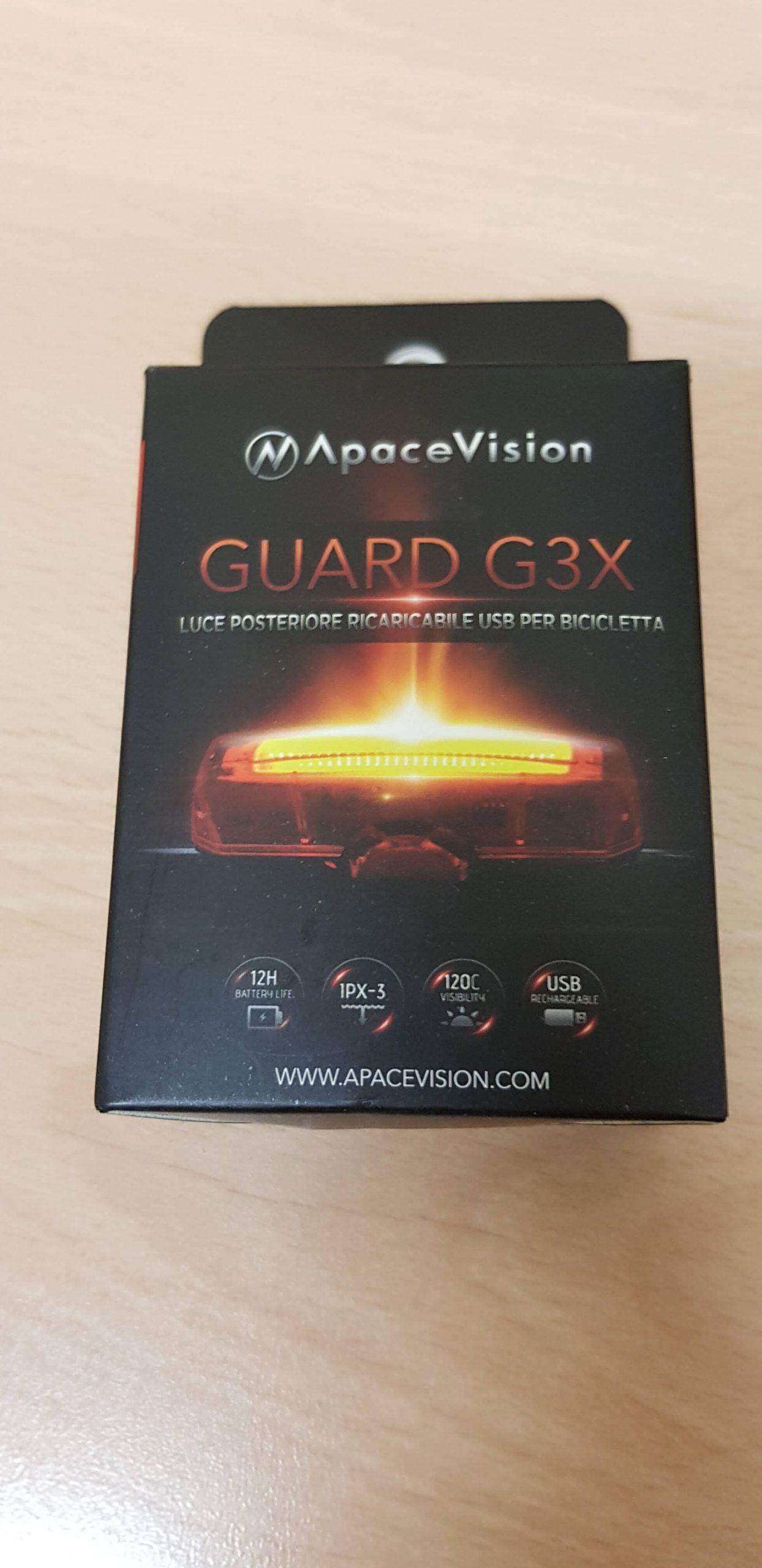 Luce posteriore led ApaceVision GuardG3X - confezione fronte